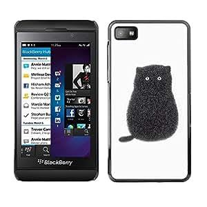 Be Good Phone Accessory // Dura Cáscara cubierta Protectora Caso Carcasa Funda de Protección para Blackberry Z10 // Black Cartoon Cat Kitten White Minimalist