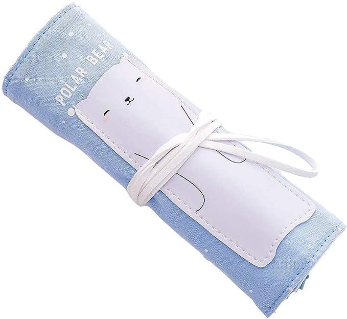 XT- Material de la Caja de lápices Bolsa de persiana Enrollable Lona Caja de lápices de Gran Capacidad Caja de papelería Bolsa de lápices Seguridad portátil (Color : Blue): Amazon.es: Electrónica