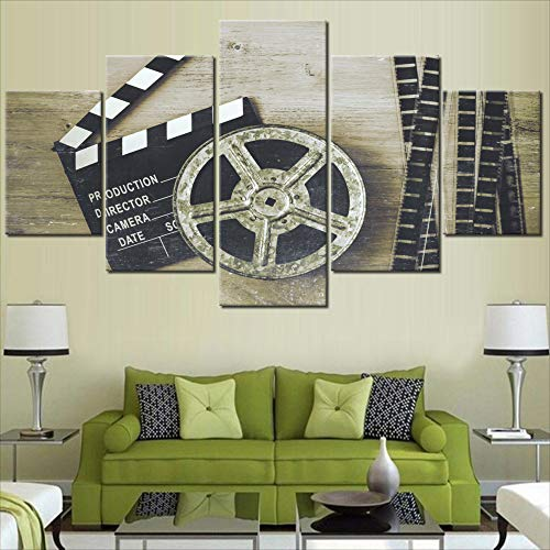 Black and White Pictures Metal Film Reel Paintings for Living Room Premium Quality Retro Artwork 5 Panel Prints Wall Art on Canvas Giclee Modern Home Decor Framed Stretched Ready to Hang(60''Wx32''H) ()