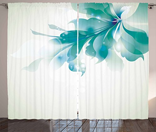 Ambesonne Abstract Decor Curtains, Big Single Beautiful Abstract Blue Ombre Flowers Artwork, Living Room Bedroom Window Drapes 2 Panel Set, 108 W X 63 L inches, Turquoise Egg Shell