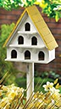 WHITE CAPE COD BIRD CONDO WOOD BIRDHOUSE Yard Garden Bird House & POLE NEW ,,#id(theonlyshopuneed; TRYK25351671816988