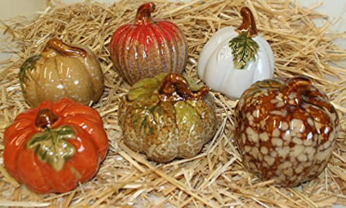Set of 6 Glazed Ceramic Pumpkins, 4 Inch