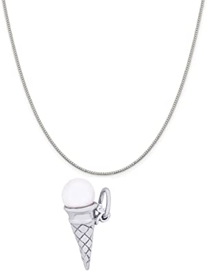 18 or 20 inch Rope Rembrandt Charms Two-Tone Sterling Silver Strawberry Charm on a Sterling Silver 16 Box or Curb Chain Necklace
