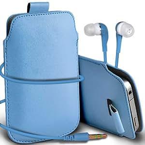 Samsung Galaxy Express 2 premium protección PU ficha de extracción Slip Cord En la cubierta de la caja del filtro del bolsillo de la Piel y Coincidencia 3.5MM auriculares auriculares auriculares Baby Blue por Spyrox