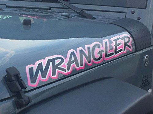 East Coast Vinyl Werkz - Pink - Wrangler - hood decal set for Jeep - 2pc set (Hood Set Decal)