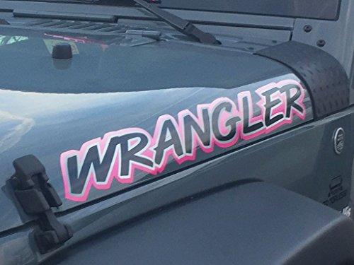 East Coast Vinyl Werkz - Pink - Wrangler - hood decal set for Jeep - 2pc set ()