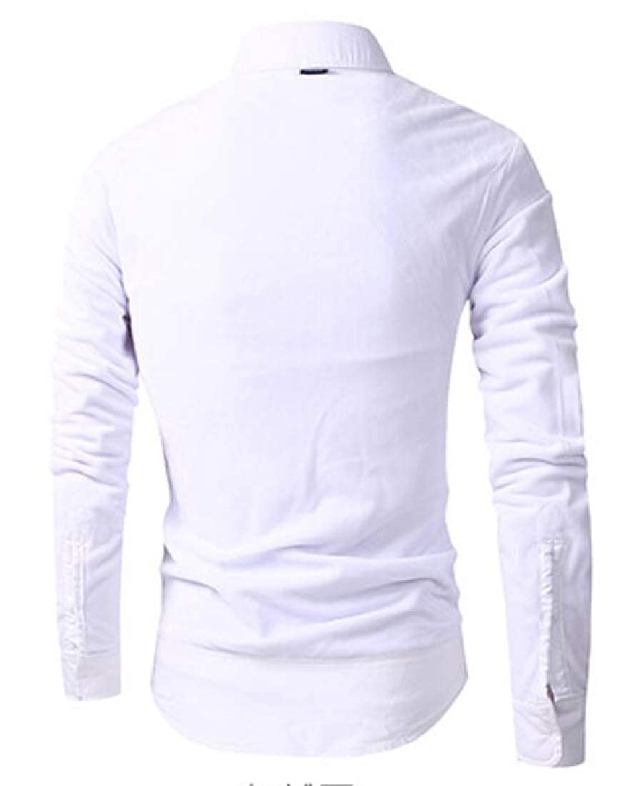 Jofemuho Mens Regular Fit Fleece Lined Cotton Pure Color Long Sleeve Button Up Dress Shirt