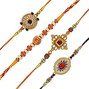 Om Jewells Men's Gold Plated Alloy Kundan and Rudraksha Studded Rakhi (Multicolor) – Set of 4