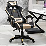 Game Chair High-Back PU Leather Office Chair Computer Desk Chairs - Executive and Ergonomic Style Swivel Chair with Adjustable Massage Lumbar Cushion, Headrest and Retractable Footrest. (Gold/Black)