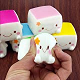 Great Deal 1 Piece Squishy Kawaii Chinese Tofu Expression Smile Face Toy