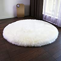 Funif Super Soft Shaggy Faux Sheepskin Area Rug Sofa Chair Cover Decor Door Mat Fluffy Round Carpet for Bedroom Floor for Baby Ivory White 19.7
