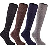 Lian LifeStyle Women's 4 Pairs Pack High Crew Knee High Wool Boot Socks Size 7-9 4 Colors (Purple,Gray,Black,Coffee)