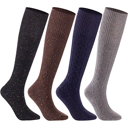 Lian LifeStyle Women's 4 Pairs Pack High Crew Knee High Wool Boot Socks Size 7-9 4 Colors (Purple,Gray,Black,Coffee) by Lian LifeStyle