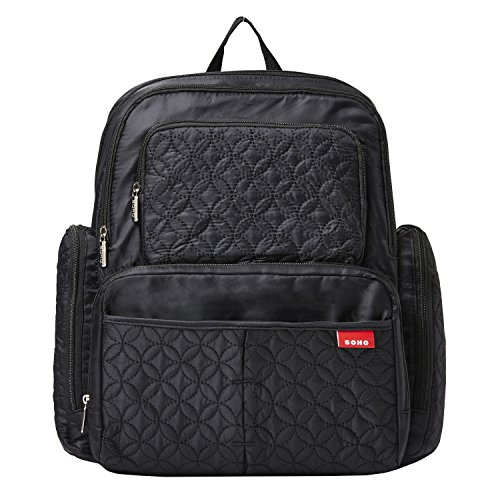 Diaper Bag Backpack for Mom or Dad with Stroller Straps, Changing Pad, Insulated Pockets, Waterproof Baby Diaper Bag, Organizer Pouches, Nappy Tote Bag for Girls or Boys | SoHo Manhattan Classic Black