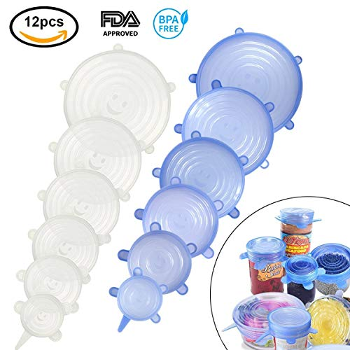 ZZF-LYA Stretchable Silicone Lid, 12-Pack in Various Sizes Silicone Stretch Lid for Bowl, Jar, Glassware, Food Saver Covers Safe in the dishwasher, microwave and ()