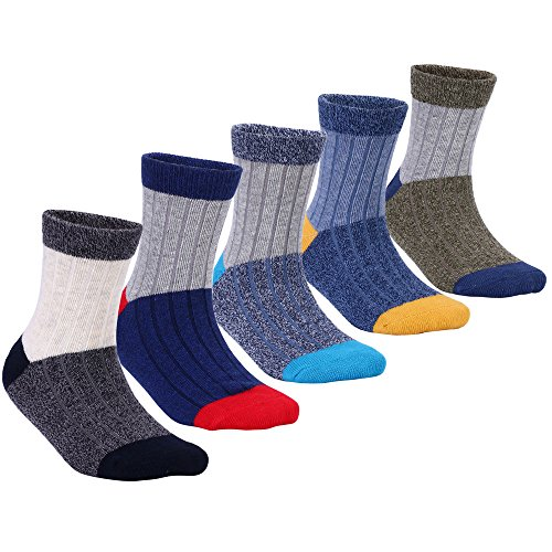 Big Boys Cotton Seamless Socks Crew Atheletic Sport Socks for Kids 5 Pack 9T/10T/11T/12T Cotton Boys Socks