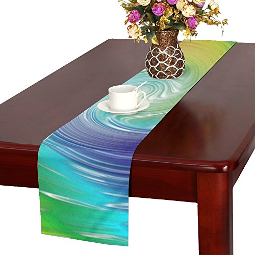 QYUESHANG Spirals Colored Rainbow Green Blue Mov Table Runner, Kitchen Dining Table Runner 16 X 72 Inch For Dinner Parties, Events, Decor ()
