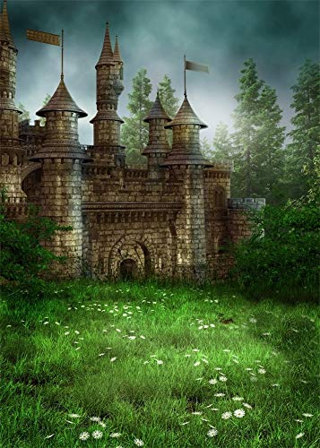 AOFOTO 5x7ft Magic Forest Vintage Medieval Castle Background Fairytale Florets Meadow Photography Backdrop Wonderland Princess Knight Prince Kid Girl Boy Artistic Portrait Photo Studio Props Wallpaper