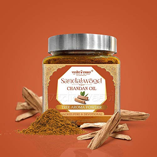 Vedic Vaani Natural Sandalwood Pure Chandan Oil Tree Aroma Fragrance  Organic Powder for Home, Office, Religious Ceremonies, Meditation and Pooja