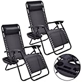 Set of 2 Black Folding Recliner Patio Lounge Chair With Magazine Cup Holder Tray Pool Beach Seat With Ebook