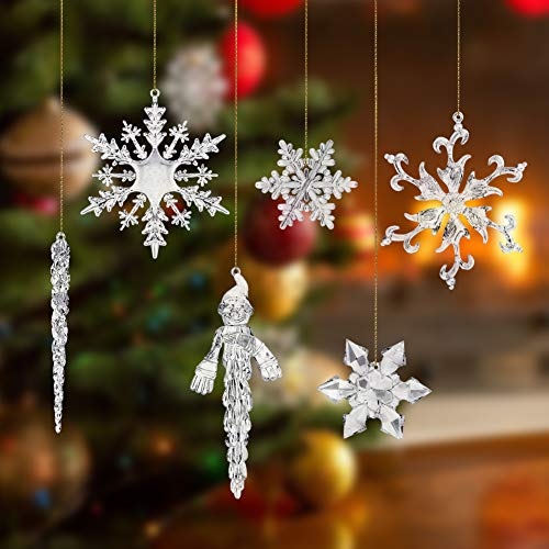 VGOODALL Christmas Snowflake Decorations, 41 PCS Icicles Ornaments Set Clear Snowflake Acrylic Christmas Ornaments for Christmas Tree Santa Outdoor Party Decoration Craft Projects