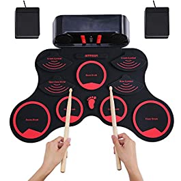 ammoon Electronic Drum Set, Roll Up Drum Practice Pad 9 Silicon Durm Pads Built-in Stereo Speakers Headphone Jack…