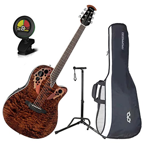 Ovation CE48P-TGE Celebrity Elite Plus Super Shallow Tiger Eye Acoustic/Electric Guitar with Gig Bag, Stand, and Tuner