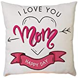 VECDY Washable Mother's Day Festival Decorative Print Pillow Case Eco-Friendly White Square Cushion Covers, 43cm x43cm (One Size,C)