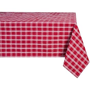 Sticky Toffee Cotton Christmas Plaid Tablecloth 60 In X 102 In, Red With  White Dobby