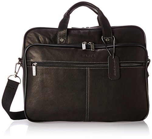 "Heritage Travelware Colombian Leather Dual Compartment Top Zip 16"" Laptop Portfolio, Black"
