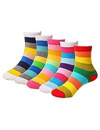 CHUNG Girls Boys 5 Pack Thin Cotton Crew Socks Cute Cartoon Design 1-9Y