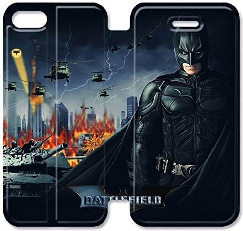 Coque iPhone 5C Coque Cuir, Klreng Walatina® 5C PU Cuir de portefeuille Coque Design By Battlefield Batman Tactical Shooter S6H8Mg