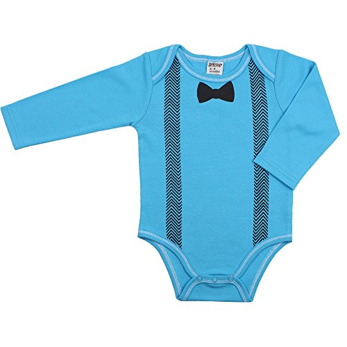[juDanzy long sleeve baby boys cotton bodysuit with snaps (6-9 Months, Bow Tie)] (Onesie Suit)