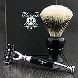 Men's Shaving Set In Black with Gillette Mach 3 razor & Pure Badger Hair Shaving Brush. Ideal For HIM