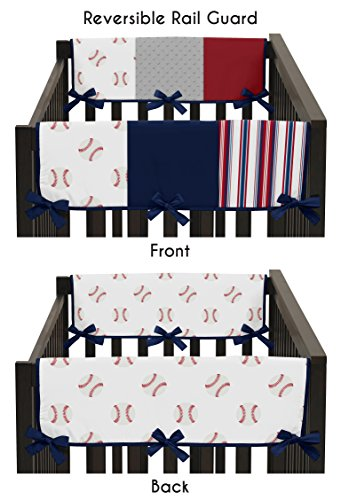 Sweet Jojo Designs Red, White and Blue Side Crib Rail Guards Baby Teething Cover Protector Wrap for Baseball Patch Sports Collection - Set of 2 - Grey Patchwork Stripe