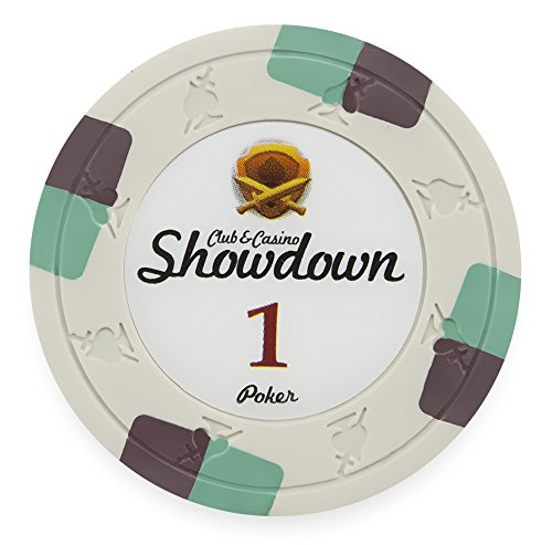 Pack of 50 Showdown Poker Chips, Heavyweight 13.5-gram Clay Composite by Claysmith Gaming ($1 White)