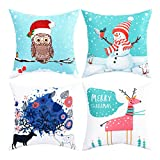 BLEUM CADE Pack of 4 Merry Christmas Decorative Pillow Cover Snowman and Deer Pillow Covers Elk Throw Pillow Cover Daily Cushion Cover for Christmas Home Office Car Sofa