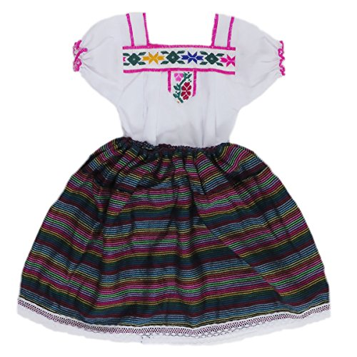 Embroidered Poplin Skirt - Mexican Clothing Co Little Girls Mexican Costume Embroidered Blouse n Skirt Poplin CT 2T Black 7115