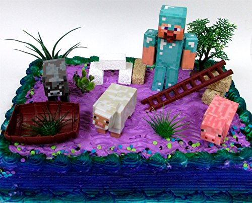 13-piece-minecraft-themed-birthday-cake-topper-set-featuring-minecraft-characters-and-decorative-the