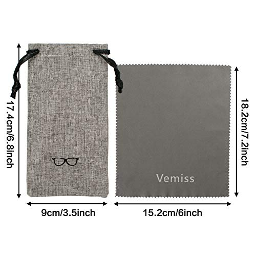 Vemiss Hard Shell Eyeglasses Case Soft Linen Fabrics Portable Glasses Sunglasses Box (Large, Gray)
