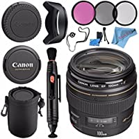 Canon EF 100mm f/2 USM Lens 2518A003 + 58mm 3pc Filter Kit + Lens Cleaning Kit + Lens Pouch + 58mm Tulip Lens Hood + Fibercloth Bundle