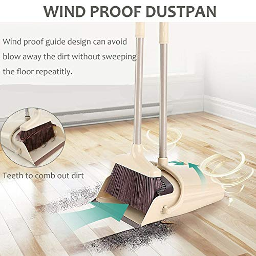 Broom and Dustpan Set, 48 inch Extendable Broom Standing Upright - Wind Proof - Foldable Sweep Set with Soft Bristles & Rubber Edge & Dust Pan with Teeth, Perfect for Kitchen, Garden, Office, etc. by SerBion (Image #3)'