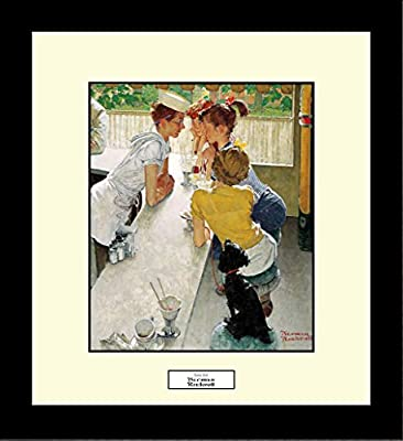 Norman Rockwell SODA JERK Framed Children Soda Fountain Wall Hanging Art Gift