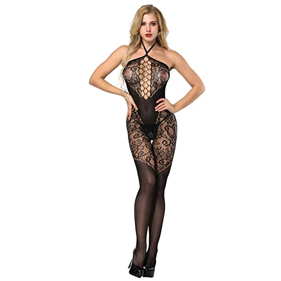 8130d95776 MengPa Fishnet Bodystocking Bodysuits for Women Thigh Lingerie Black Lace  J2279  Amazon.ca  Clothing   Accessories