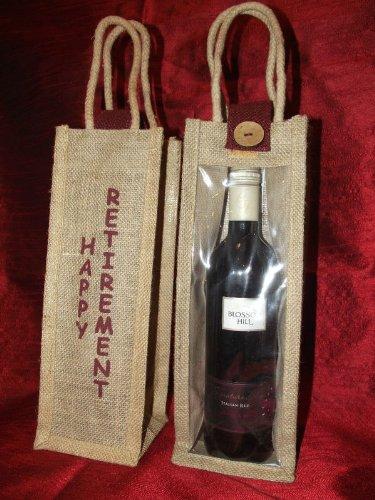 """""""happy otros"""" de arpillera/yute y accesorios para vino para botellas"""