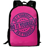 Do It Youeself Logo Double Shoulder Backpacks For Adults Traveling Bags Full Print Fashion