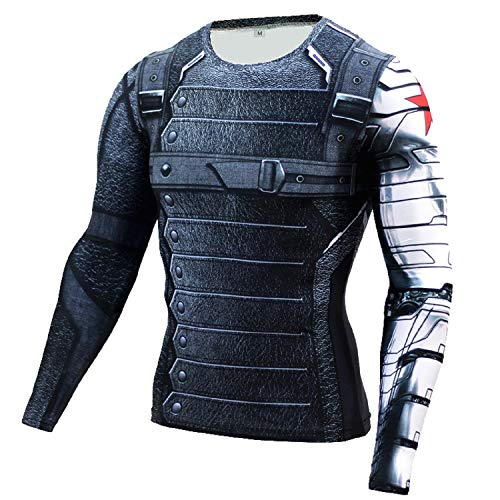 Winter Soldier Shirt Men's Long Sleeve Shirt Outdoor Sports 3D Print Compression Shirt (Large) Black]()