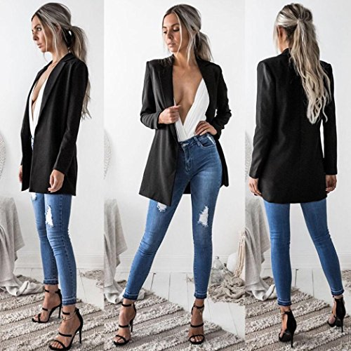 WensLTD Womens Open Front Work Office Cardigan Blazer Long Sleeve Jacket Outwear (Black, M)