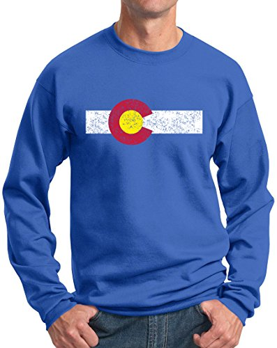 Colorado Sweatshirt Centenial State Flag Vintage Royal XXL