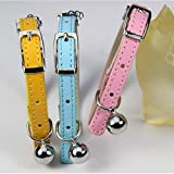 AOBILE(TM) ( 1 piece Free Slider Charm) Pink Blue Yellow Soft Pu Leather Material Safety Elastic Cat collar